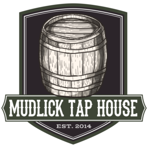 The Mudlick Tap House logo - a brown, wooden beer barrel with the tavern name in a pioneer, western-style font - donation request