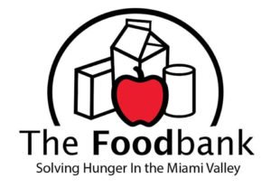 Logo for Dayton Foodbank - red apple and groceries
